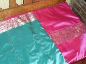 Cushions made from saree fabric