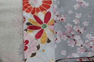 Japanese floral fabrics with muted colours