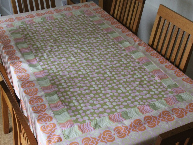 Orange and Pink Tablecloth, from Amy Butler fabrics,  by Heidi Tyrvainen