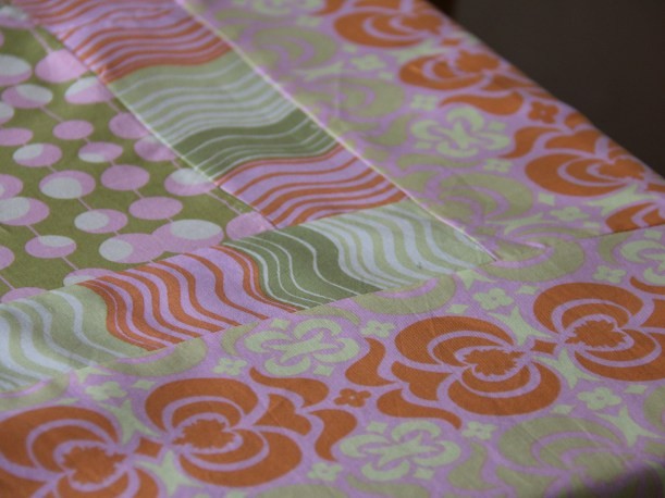 Orange and Pink Tablecloth (detail) by Heidi Tyrvainen