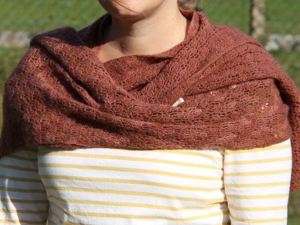 Crocus Bud crochet shawl in Malabrigo Lace in cognac by Heidi Tyrvainen