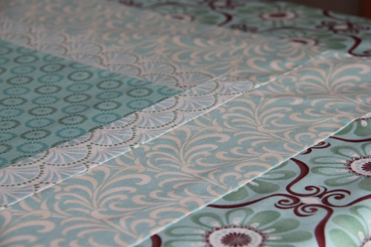 A patchwork tablecloth from Kate Spain fabrics