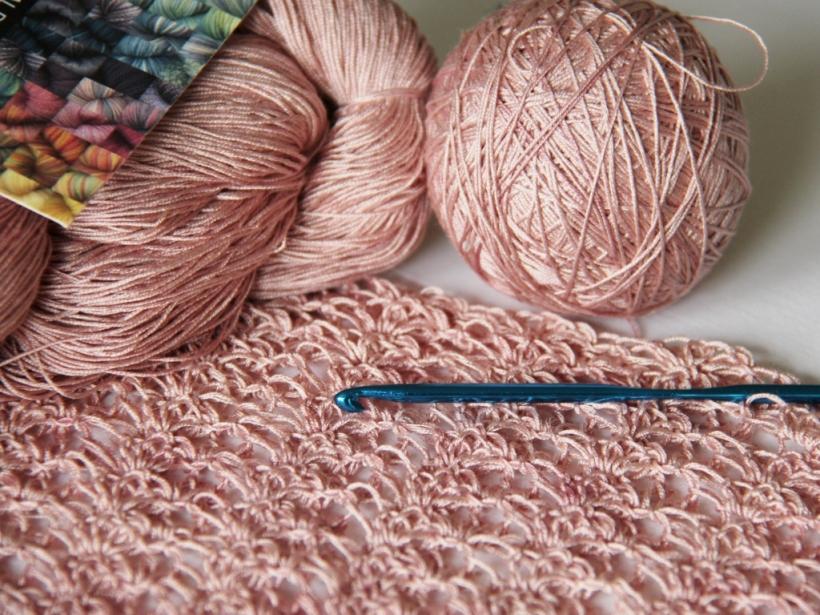 Crocus Bud Shawl in Natural Dye Company's silk lace yarn