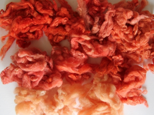 Fiber dyed with madder
