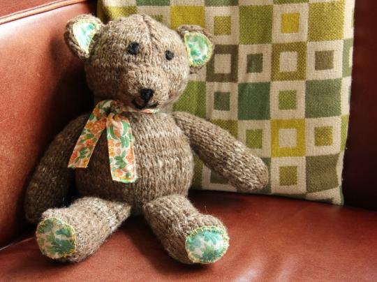 A teddy bear from home spun yarn
