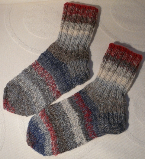 Socks knitted from home spun yarn