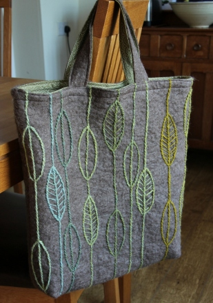 Felted bag with embroidered leaves
