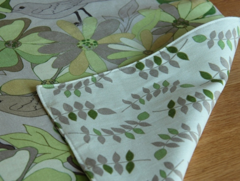 Green table runners, reverse side