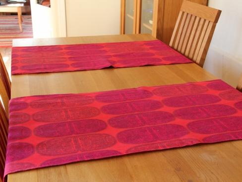 Table runners made from Marimekko's Tantsu fabric