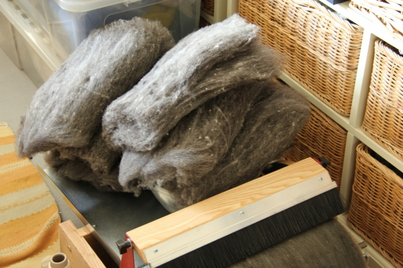 This is my current carding/spinning WIP. I have been blending Shetland wool in various shades of grey, the next step is to blend it with some angora wool. Eventually, hopefully by next winter, it will be turned into a beanie and gloves for hubby.