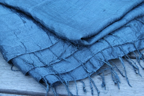 A Thai silk scarf, dyed midnight blue with purple basil