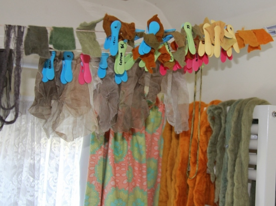 My bathroom after a typical dyeing day. I use plastic pegs as labels to keep track of my samples.